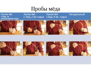 Пробы мёда Проба №1 (+мед, не использовали соду) Проба №2 (-мед, 2 мл соды) П
