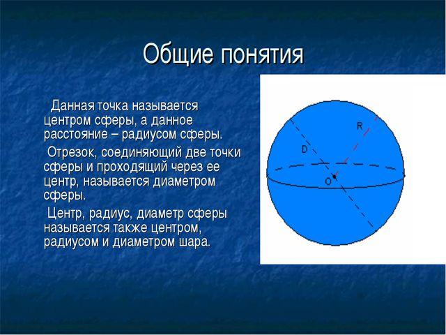 Общие понятия Данная точка называется центром сферы, а данное расстояние – ра...