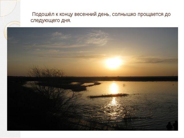 Подошёл к концу весенний день, солнышко прощается до следующего дня.