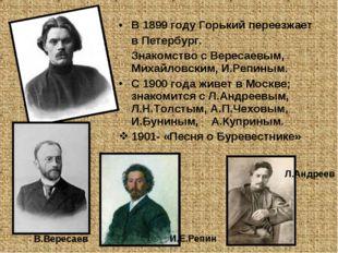 В 1899 году Горький переезжает в Петербург. Знакомство с Вересаевым, Михайлов