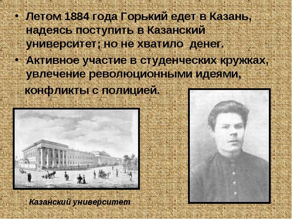 Летом 1884 года Горький едет в Казань, надеясь поступить в Казанский универси...