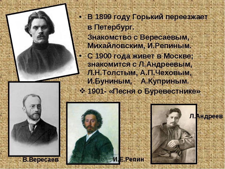 В 1899 году Горький переезжает в Петербург. Знакомство с Вересаевым, Михайлов...