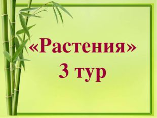 «Растения» 3 тур