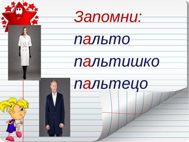 Запомни: пальто пальтишко пальтецо Нурмухаметова АаА.