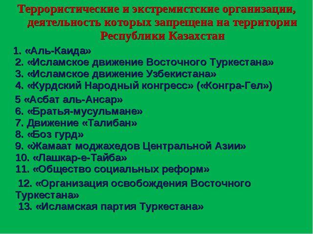 Террористические и экстремистские организации, деятельность которых запрещена...
