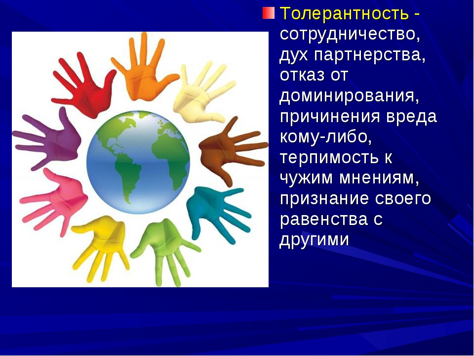 Толерантность - сотрудничество, дух партнерства, отказ от доминирования, прич...