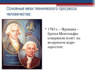 1783 г. – Франция – братья Монгольфье совершили полёт на воздушном шаре-аэро