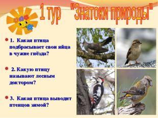 1. Какая птица подбрасывает свои яйца в чужие гнёзда? 2. Какую птицу называю