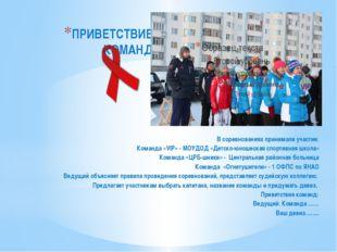 ПРИВЕТСТВИЕ КОМАНД В соревнованиях принимали участие: Команда «VIP» - МОУДОД