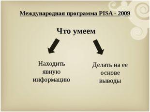 Международная программа PISA - 2009 Что умеем Находить явную информацию Делат