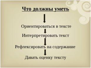 Что должны уметь Ориентироваться в тексте Интерпретировать текст Рефлексирова