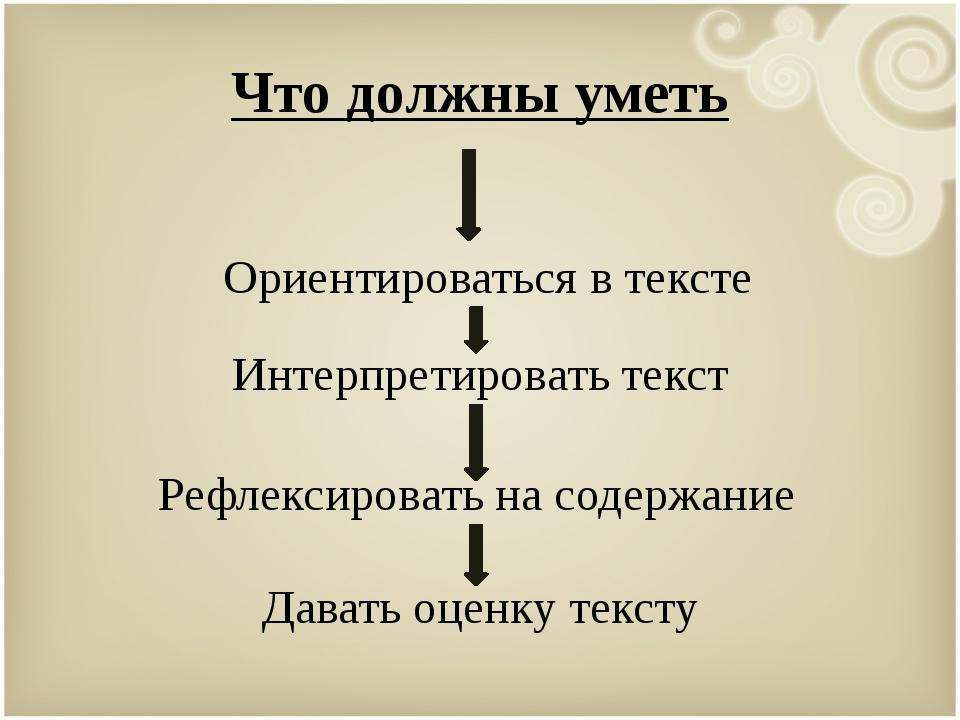 Что должны уметь Ориентироваться в тексте Интерпретировать текст Рефлексирова...