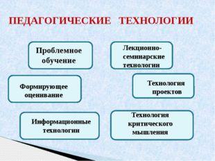 ПЕДАГОГИЧЕСКИЕ ТЕХНОЛОГИИ Проблемное обучение Информационные технологии Лекци