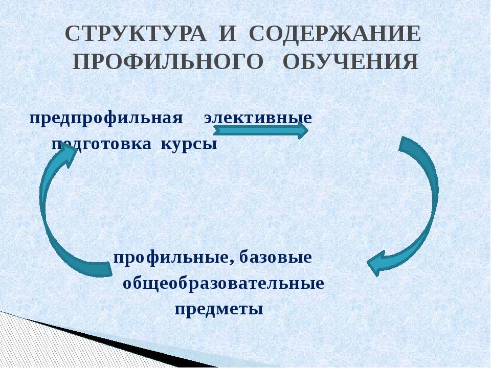 предпрофильнаяэлективные подготовкакурсы профильные, базовые общеобр...