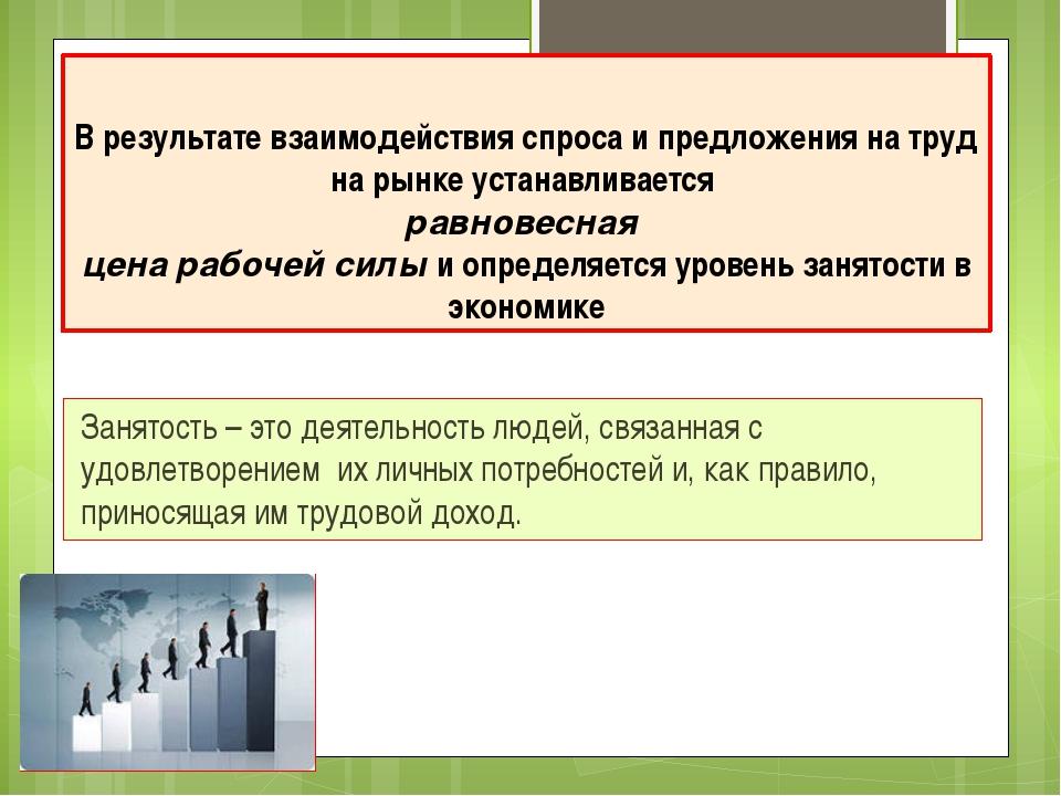 В результате взаимодействия спроса и предложения на труд на рынке устанавлива...
