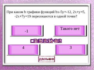 При каком b графики функций bх-5у=-12, 2х+у=5, -2х+7у=19 пересекаются в одно