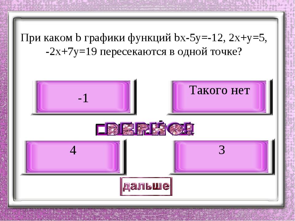 При каком b графики функций bх-5у=-12, 2х+у=5, -2х+7у=19 пересекаются в одно...