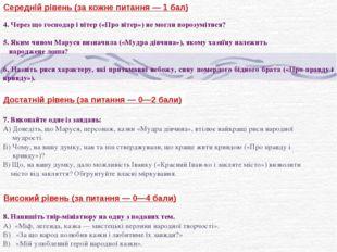 Середній рівень (за кожне питання — 1 бал) 4. Через що господар і вітер («Про