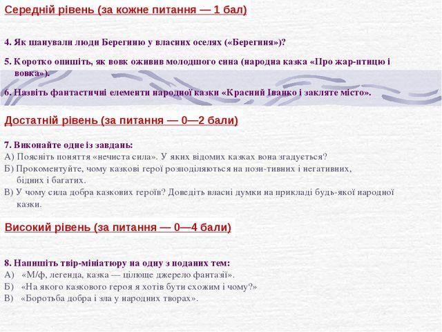 Середній рівень (за кожне питання — 1 бал) 4. Як шанували люди Берегиню у вла...