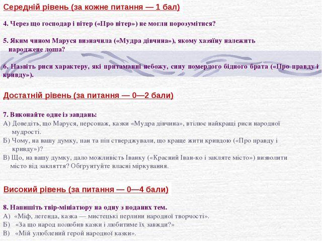 Середній рівень (за кожне питання — 1 бал) 4. Через що господар і вітер («Про...