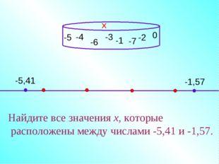 -4 Найдите все значения х, которые расположены между числами -5,41 и -1,57. х