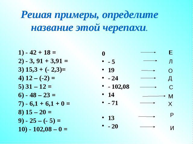 Решая примеры, определите название этой черепахи. 1) - 42 + 18 = 2) - 3, 91 +...
