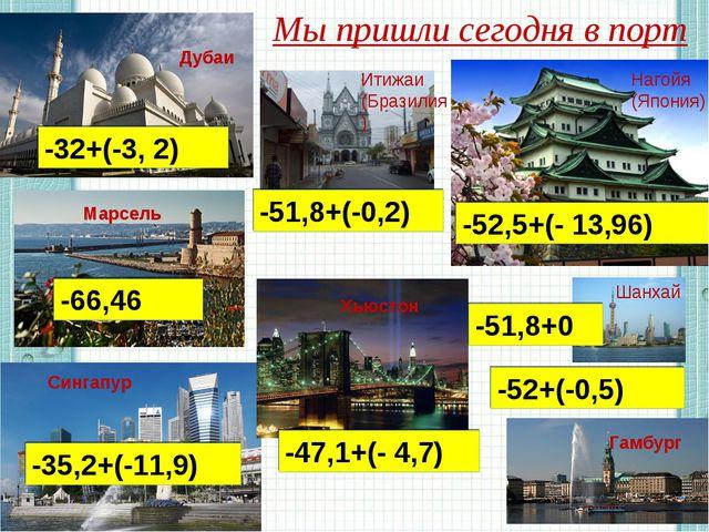 Мы пришли сегодня в порт -52+(-0,5) -32+(-3, 2) -52,5+(- 13,96) -66,46 -35,2+...