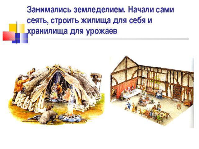 Занимались земледелием. Начали сами сеять, строить жилища для себя и хранилищ...