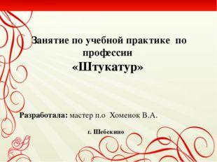 Занятие по учебной практике  по профессии «Штукатур»
