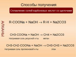 Способы получения АЛКАНЫ Сплавление солей карбоновых кислот со щелочами R-CO