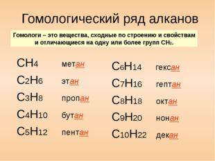 Гомологический ряд алканов СН4 метан С2H6 этан C3H8 пропан C4H10 бутан C5H12