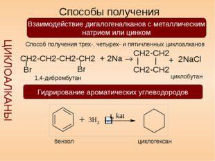 Способы получения ЦИКЛОАЛКАНЫ Взаимодействие дигалогеналканов с металлически