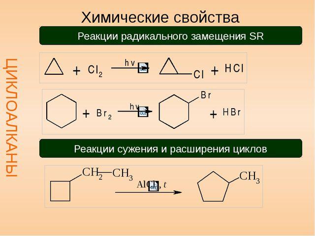 Химические свойства ЦИКЛОАЛКАНЫ Реакции радикального замещения SR Реакции су...