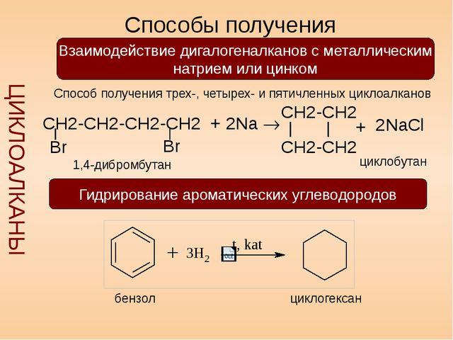 Способы получения ЦИКЛОАЛКАНЫ Взаимодействие дигалогеналканов с металлически...
