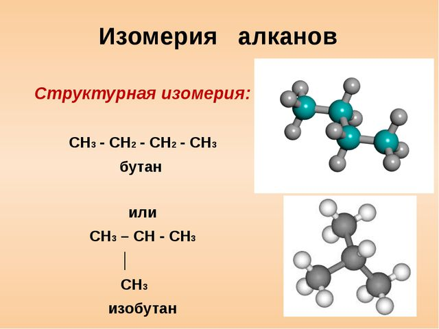 Изомерия алканов Структурная изомерия: CH3 - CH2 - CH2 - CH3 бутан или CH3 –...