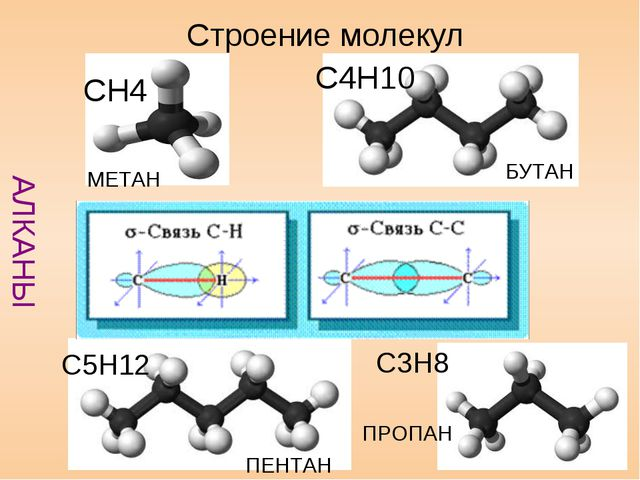 Строение молекул АЛКАНЫ БУТАН C4H10 C5H12 ПЕНТАН МЕТАН CH4 C3H8 ПРОПАН