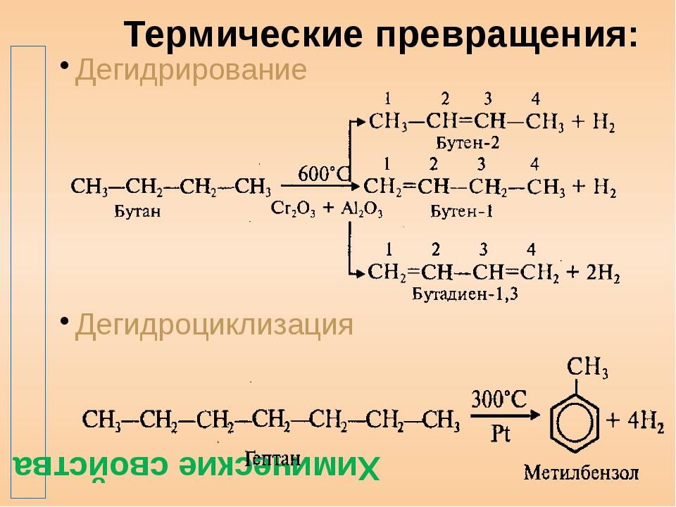 Термические превращения: Дегидрирование Дегидроциклизация Химические свойства