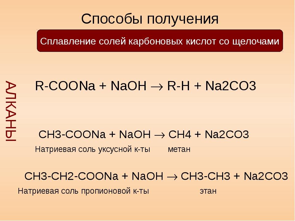 Способы получения АЛКАНЫ Сплавление солей карбоновых кислот со щелочами R-CO...