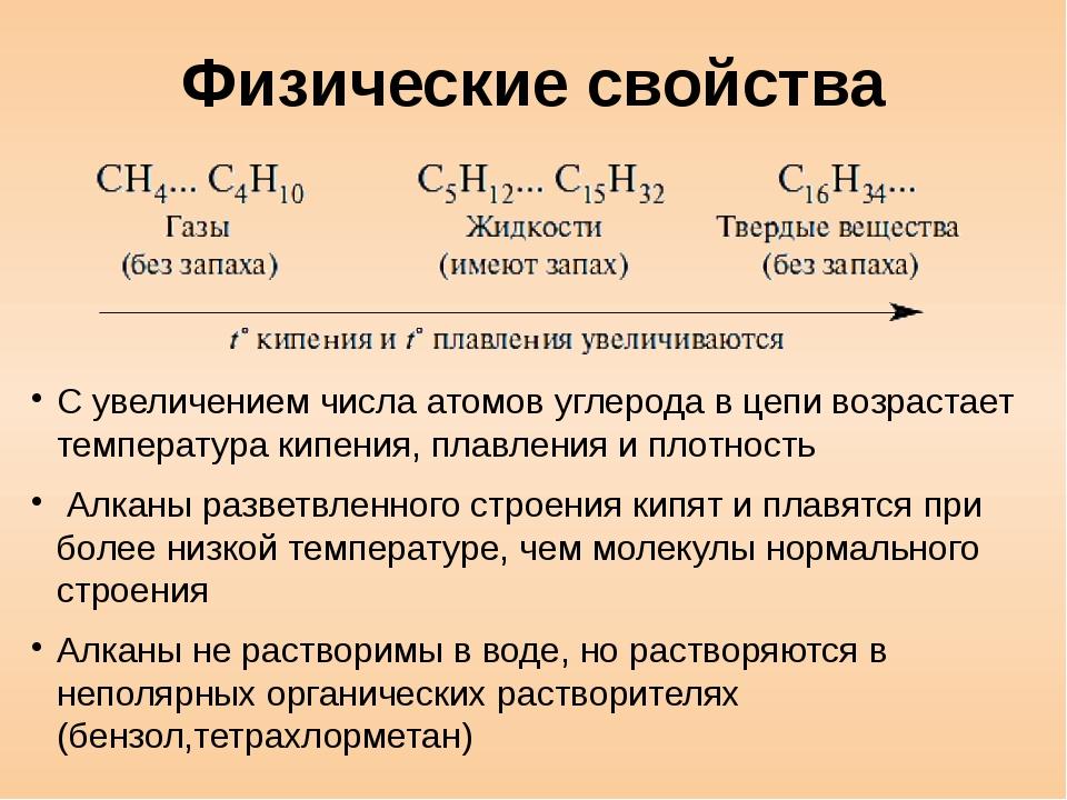 Физические свойства С увеличением числа атомов углерода в цепи возрастает тем...