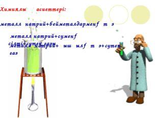 Химиялық қасиеттері: металл натрий+бейметалдармен→ тұз металл натрий+сумен→ с