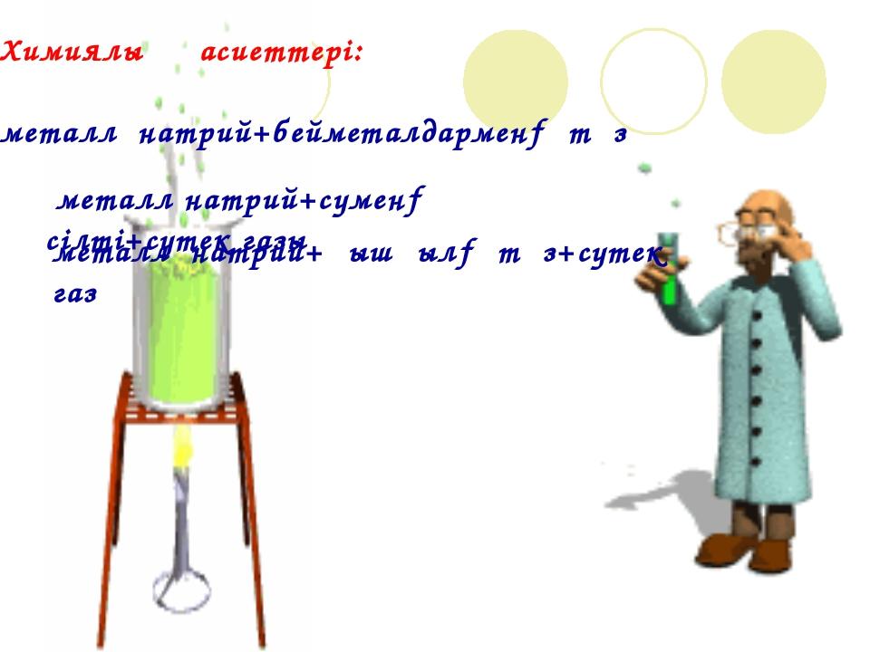 Химиялық қасиеттері: металл натрий+бейметалдармен→ тұз металл натрий+сумен→ с...