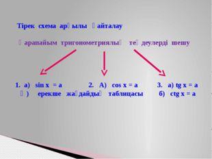 Тірек схема арқылы қайталау Қарапайым тригонометриялық теңдеулерді шешу