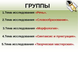 ГРУППЫ 1.Тема исследования «Речь». 3.Тема исследования «Морфология». 2.Тема и