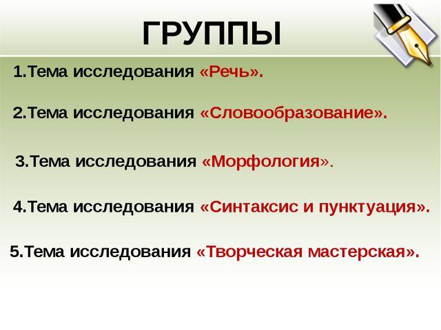 ГРУППЫ 1.Тема исследования «Речь». 3.Тема исследования «Морфология». 2.Тема и...