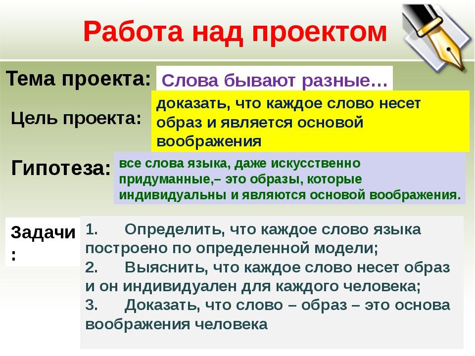 Работа над проектом Тема проекта: Слова бывают разные… Цель проекта: доказать...