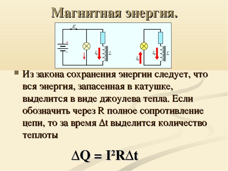 Магнитная энергия. Из закона сохранения энергии следует, что вся энергия, зап...
