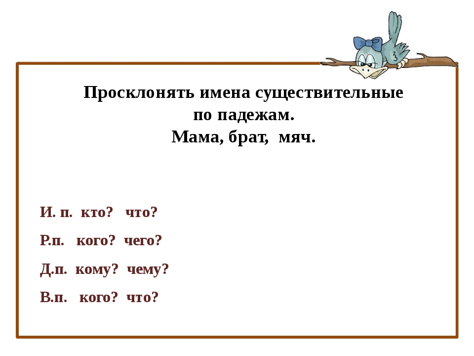 Тема урока: И.п., Р.п., Д.п., В.п., имени существительного