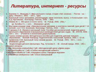 Литература, интернет - ресурсы Коржова О., Иванцова Л. Мир кукольного театра