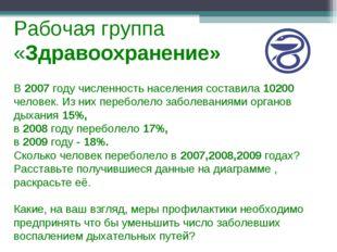 Рабочая группа «Здравоохранение» В 2007 году численность населения составила