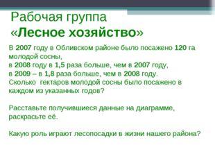 Рабочая группа «Лесное хозяйство» В 2007 году в Обливском районе было посажен